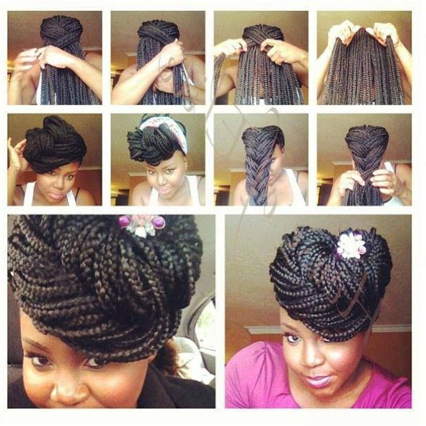 Top 20 Box Braids Updo Hairstyles | Hair | Box Braids For Most Up To Date Box Braided Bun Hairstyles (View 5 of 25)