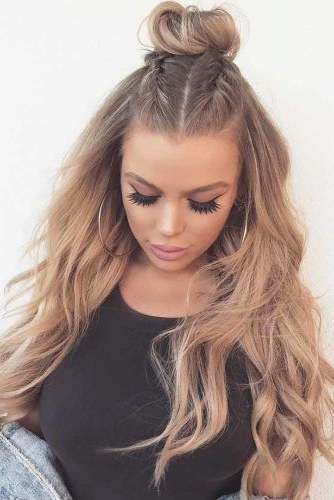 Top Knot Half Up Hairstyles For Long Hair Picture1 | Costume Within Most Recent Half Up Top Knot Braid Hairstyles (View 3 of 25)
