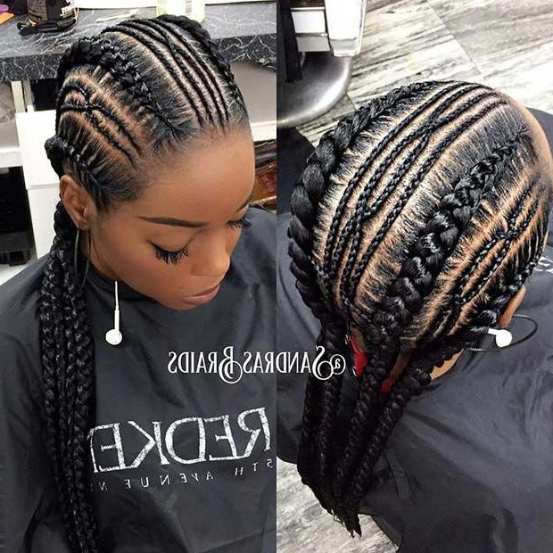 Trendy Thin And Thick Cornrows #coolbraids #summerbraids Throughout Newest Ponytail Braid Hairstyles With Thin And Thick Cornrows (View 6 of 25)