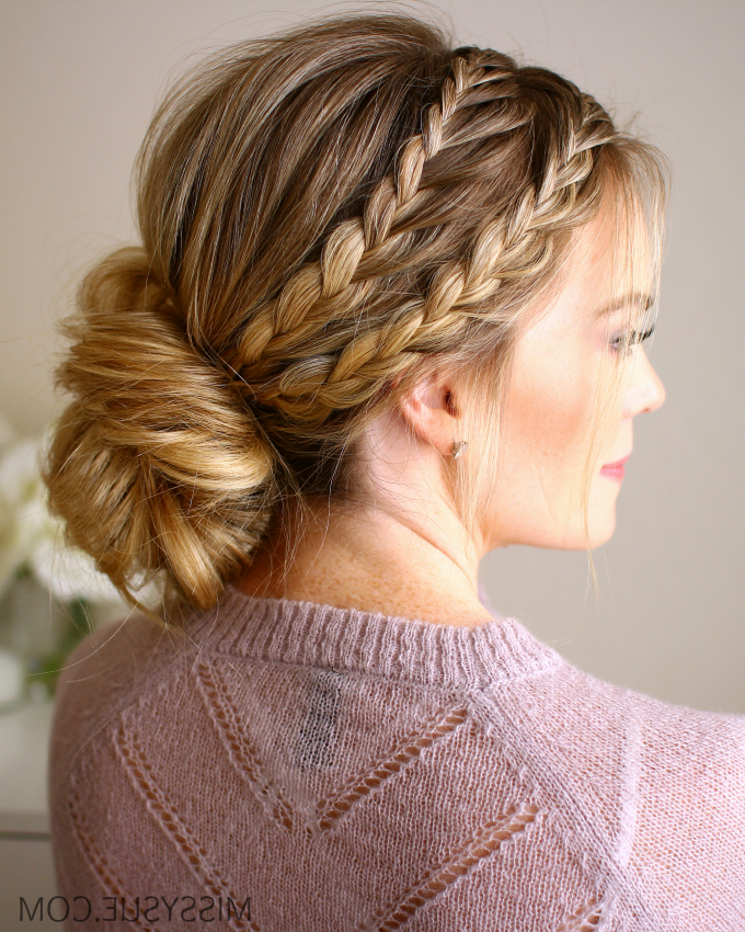 Triple Braided Updo | Missy Sue With Best And Newest Brown Woven Updo Braid Hairstyles (View 19 of 25)
