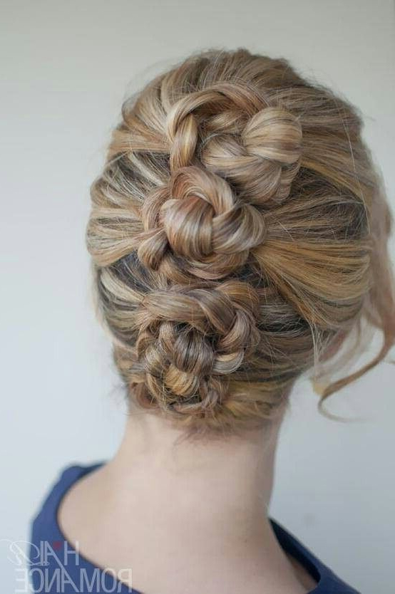 Triple Bun | Beauty | Hair Styles, Hair Romance, Prom Within Most Up To Date Triple Under Braid Hairstyles With A Bun (View 18 of 25)