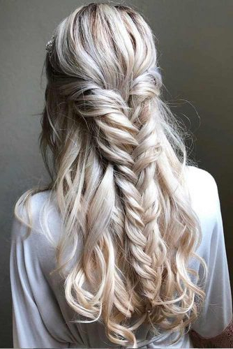 Try 42 Half Up Half Down Prom Hairstyles | Lovehairstyles With Regard To Current Elegant Blonde Mermaid Braid Hairstyles (View 14 of 25)
