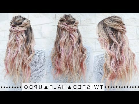 Twisted Half Updo Hairstyle   Super Easy! – Youtube Throughout Recent Partial Updo Rope Braids With Small Twists (View 24 of 25)
