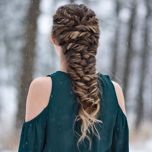 Twisted Mermaid Braid On My Cousin On A Very Snowy Day Within Most Up To Date Twisted Mermaid Braid Hairstyles (View 6 of 25)