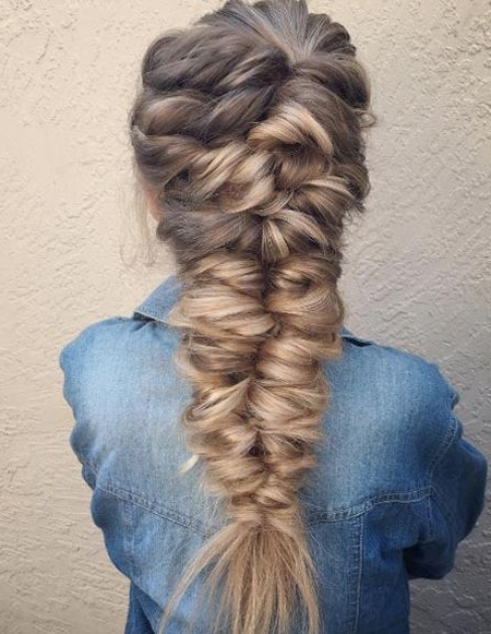 Twisted Mermaid Hairstyles 2018 For Women | Frisuren In 2019 With Regard To Current Over The Shoulder Mermaid Braid Hairstyles (View 5 of 25)