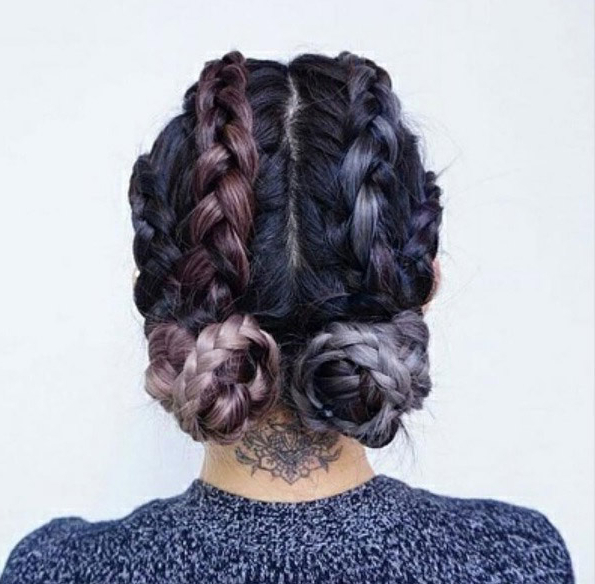 Two Buns Hairstyle: 19 Ways To Wear Double Buns – Thefashionspot With 2018 Braids And Buns Hairstyles (View 23 of 25)