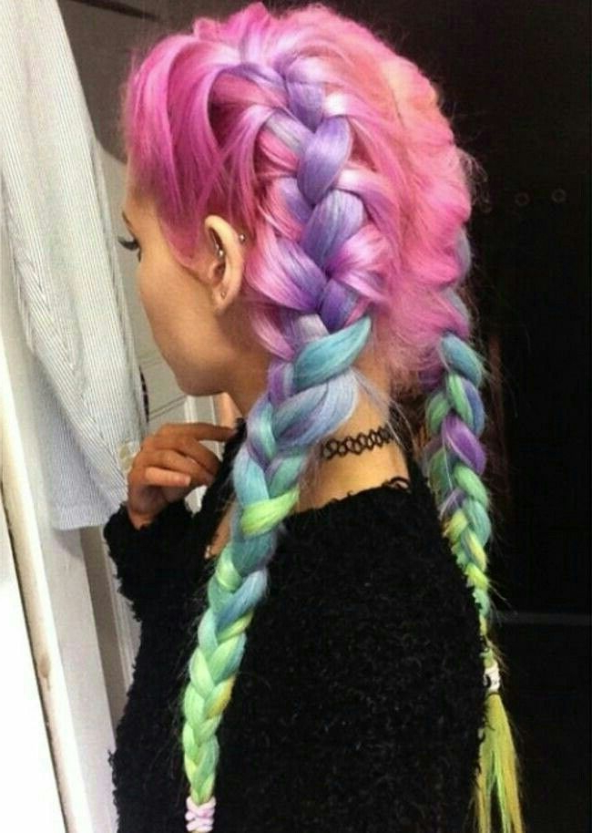 Unicorn Color Braid #avedaibw | Braids In 2019 | Hair For Newest Cotton Candy Colors Blend Mermaid Braid Hairstyles (View 22 of 25)