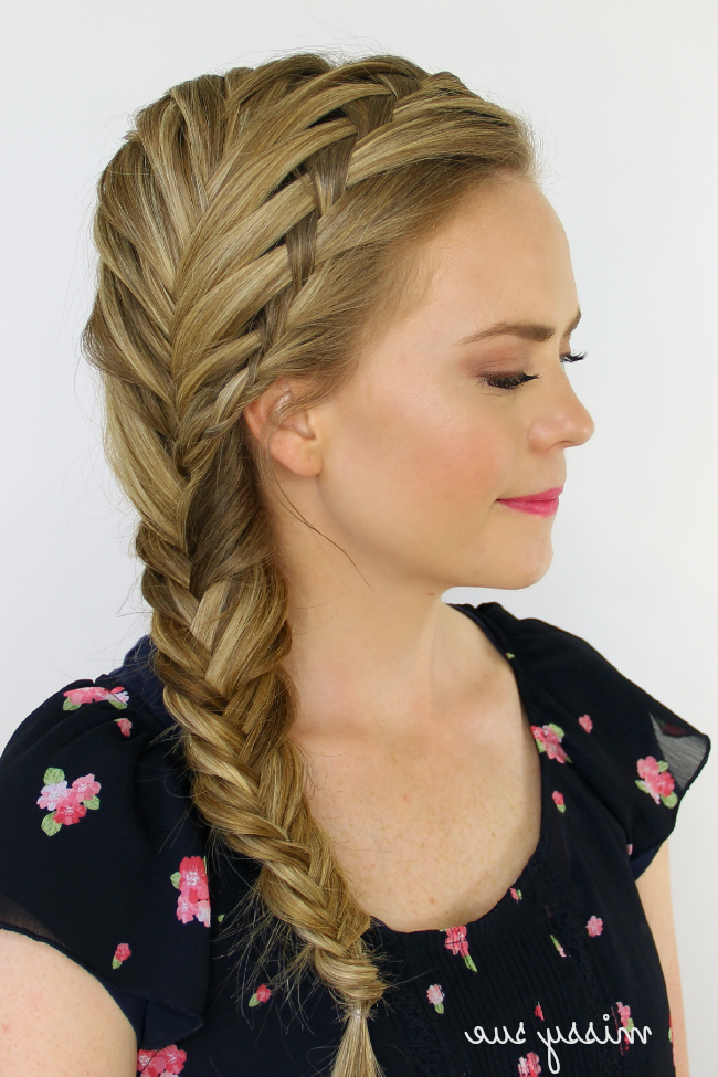 Waterfall And Fishtail French Braids Regarding Most Recent Over The Shoulder Mermaid Braid Hairstyles (View 2 of 25)