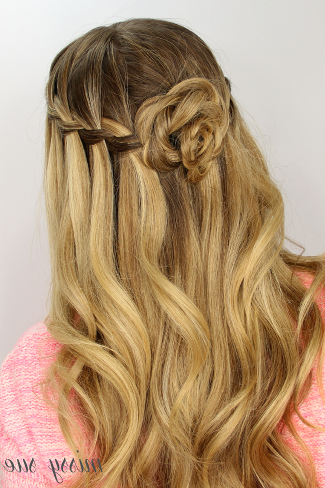 Waterfall Braid And Flower Bun For Most Up To Date Waterfall Mermaid Braid Hairstyles (View 19 of 25)