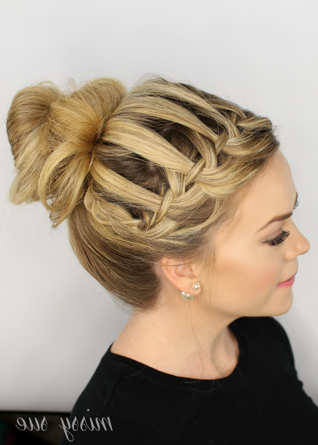 Waterfall Braid Top Knot For Most Recently Braided Topknot Hairstyles With Beads (View 12 of 25)