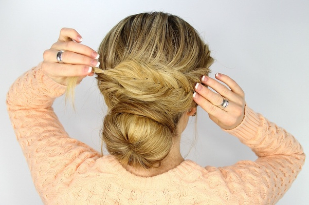 Wedding Day Hairstyles: Fishtail Braid Wrapped Bun Tutorial Throughout Most Up To Date Wrapping Fishtail Braided Hairstyles (View 8 of 25)