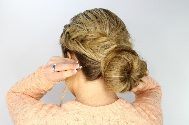 Wedding Day Hairstyles: Fishtail Braid Wrapped Bun Tutorial With Regard To Most Up To Date Wrapping Fishtail Braided Hairstyles (View 11 of 25)