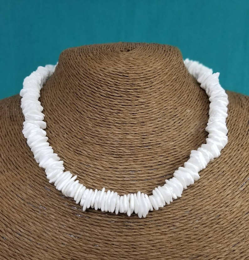 White Puka Shell Necklace Handmade White Necklace – Puka Necklace – White Shell Necklace Puka Necklace White Sea Shell Necklace Hawaii Beach Throughout Current Puka Shell Beaded Braided Hairstyles (View 24 of 25)