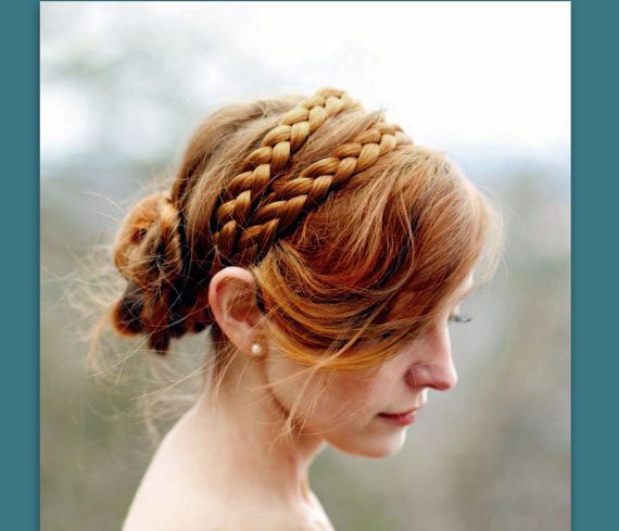 Wide Double Strand Hair Braided Headband Bridal Braid Plait With Current Double Headband Braided Hairstyles With Flowers (View 14 of 25)