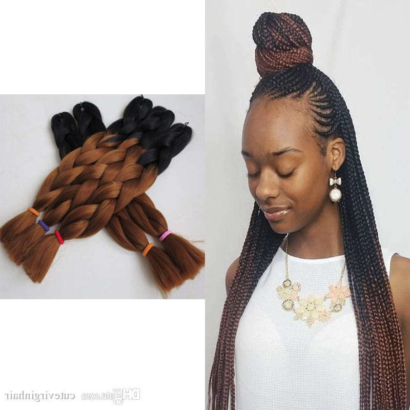 Xpression Braiding Hair Kanekalon High Temperature Ombre Braids Hair Two Tone Color Expression Braiding Hair Synthetic 1B/33 Ombre Brown In 2018 Two Ombre Under Braid Hairstyles (View 10 of 25)
