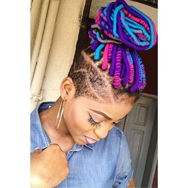 Yarn Dreads | Yarn Locs | Undercut Hairstyle | Black Girl With Recent Long Braids With Blue And Pink Yarn (View 5 of 25)