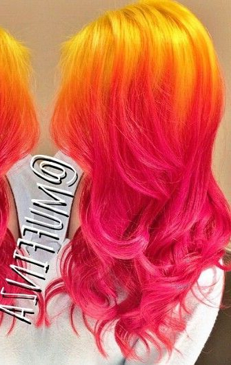 Yellow Pink Ombre Hair | Colorful Hair | Pink Ombre Hair For 2018 Red, Orange And Yellow Half Updo Hairstyles (View 17 of 25)