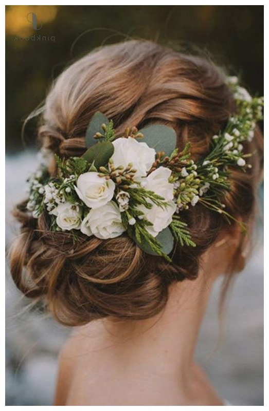 10 Beautiful Wedding Hairstyles For Long Hair L Pink Book With Floral Bun Updo Hairstyles (View 19 of 25)