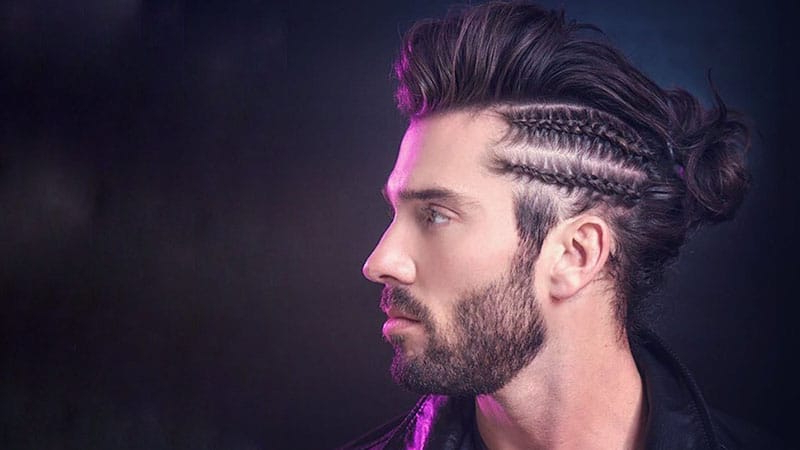 10 Masculine Man Bun Braid Hairstyles To Try – The Trend Spotter Within Topknot Hairstyles With Mini Braid (View 16 of 25)