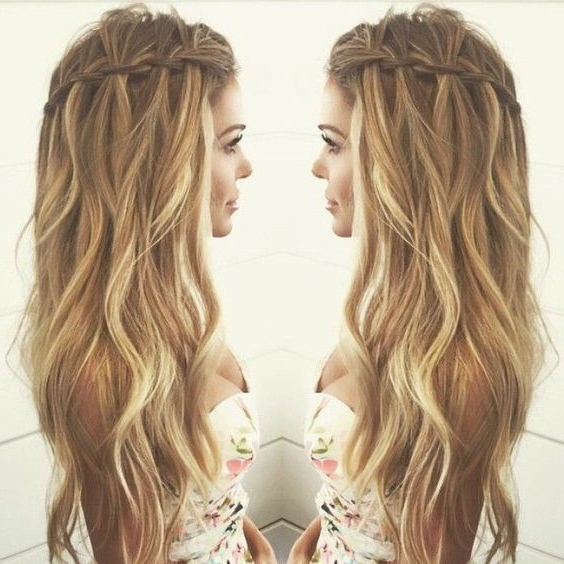 10 Pretty Waterfall French Braid Hairstyles 2019 With Waterfall Braids Hairstyles (View 5 of 25)