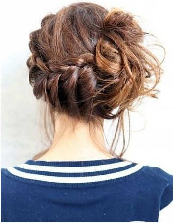 10 Trendy Messy Braid Bun Updos – Popular Haircuts With Regard To Teased Fishtail Bun Updo Hairstyles (View 13 of 25)