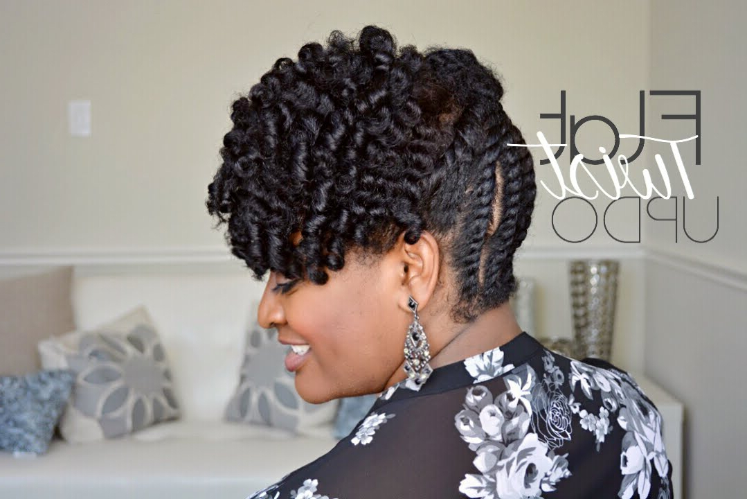 | 103 | Simple Flat Twist Updo On Natural Hair Within Natural Bangs Updo Hairstyles (View 24 of 25)