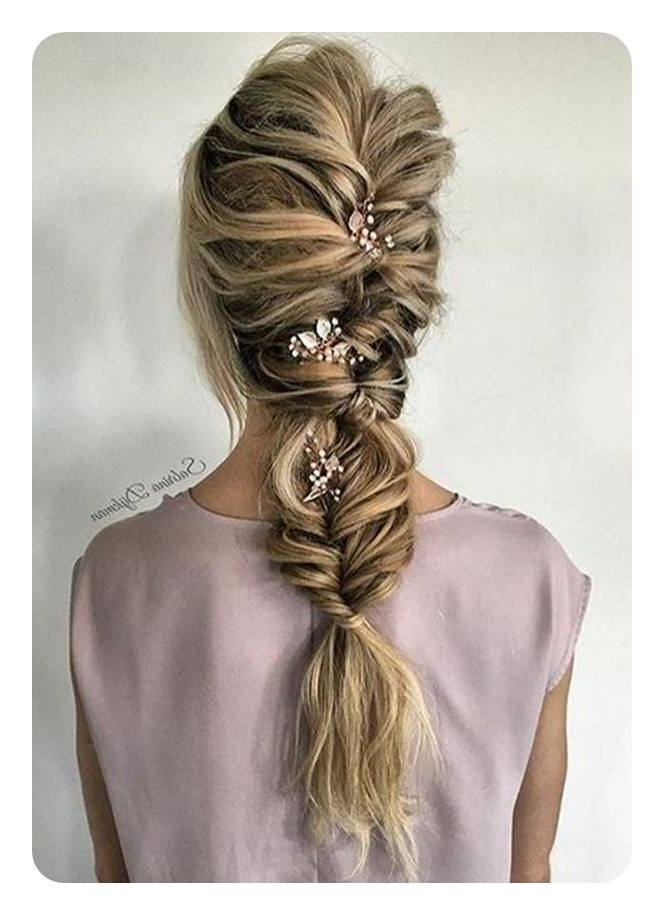 104 Fishtail Braids Hairstyles That Turn Heads Intended For Fishtail Braid Updo Hairstyles (View 11 of 25)