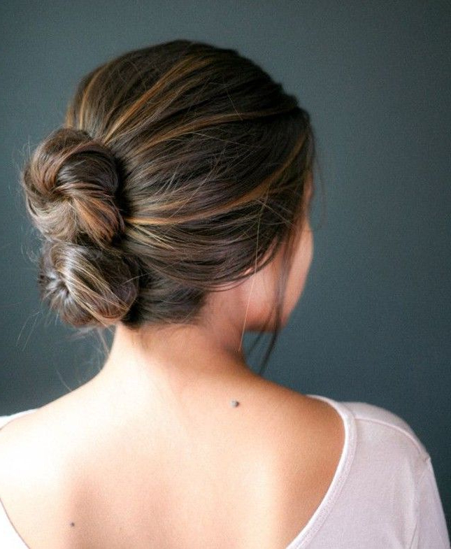 13 Easy Updos For Your Holiday Parties And Beyond | Beauty With Regard To Stacked Buns Updo Hairstyles (View 3 of 25)