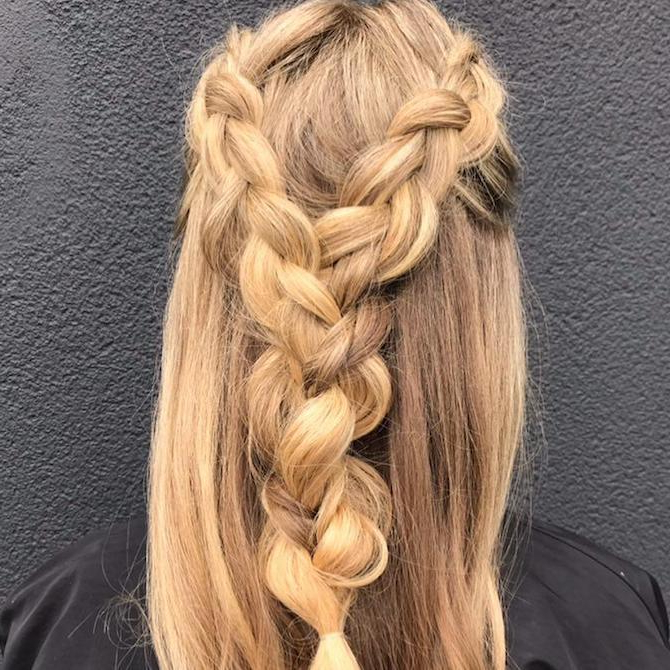 14 Braided Hairstyles – From Dutch To Crown | Wella With Best And Newest Halo Braided Hairstyles With Long Tendrils (View 15 of 25)
