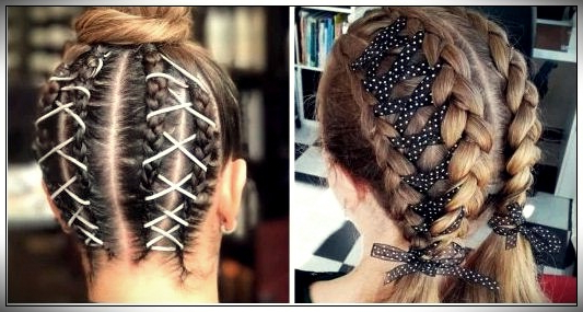 14 Looks Of Braids With Woven Ribbons To Test The Trend Inside Latest Corset Braided Hairstyles (View 9 of 25)