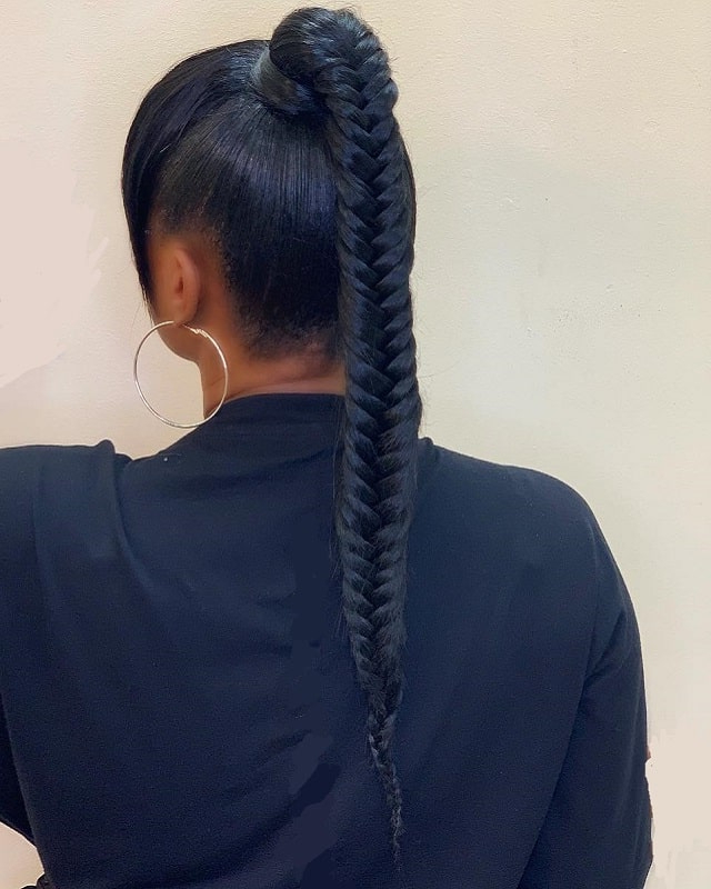 15 Ponytail Hairstyles For Black Girls That Are So Striking For Most Popular Fishtail Braid Pontyail Hairstyles (View 23 of 25)