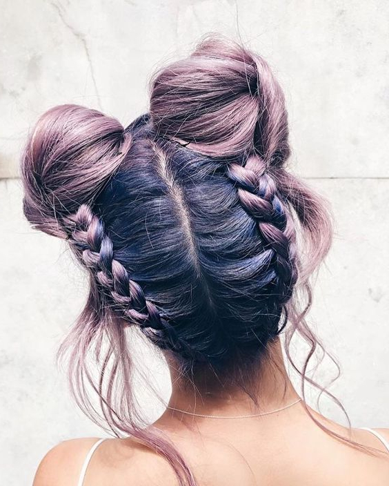 16 Super Cute Space Bun Hairstyles You Can Try This Year Intended For Braided Space Buns Updo Hairstyles (View 9 of 25)
