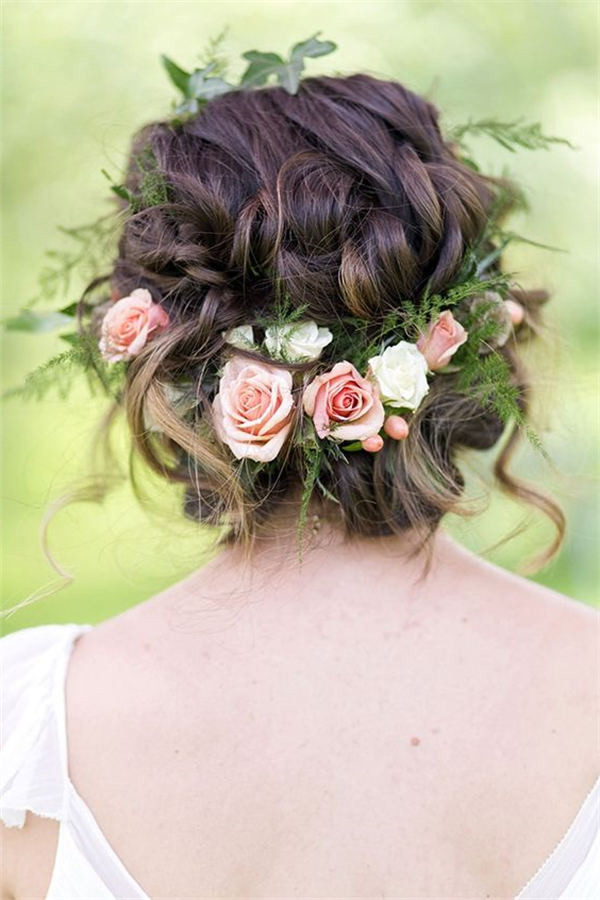 18 Wedding Updo Hairstyles With Greenery Decorations Intended For Romantic Florals Updo Hairstyles (View 4 of 26)