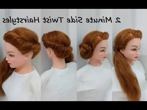 2 Minute Side Twist Ponytail & Bun: Easy Hairstyles With Simple Pony Updo Hairstyles With A Twist (View 12 of 25)