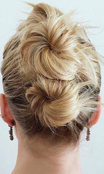 20 Cool Updos You Can Actually Do With Short Hair Intended For Stacked Mini Buns Hairstyles (View 2 of 25)