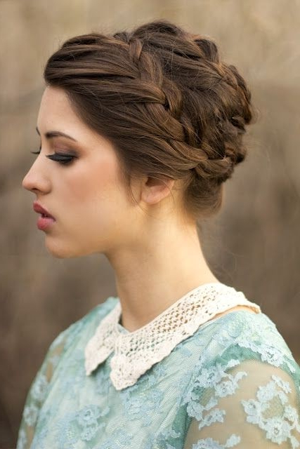 20 Pretty Braided Updo Hairstyles – Popular Haircuts Pertaining To Crown Braid Updo Hairstyles (View 19 of 25)