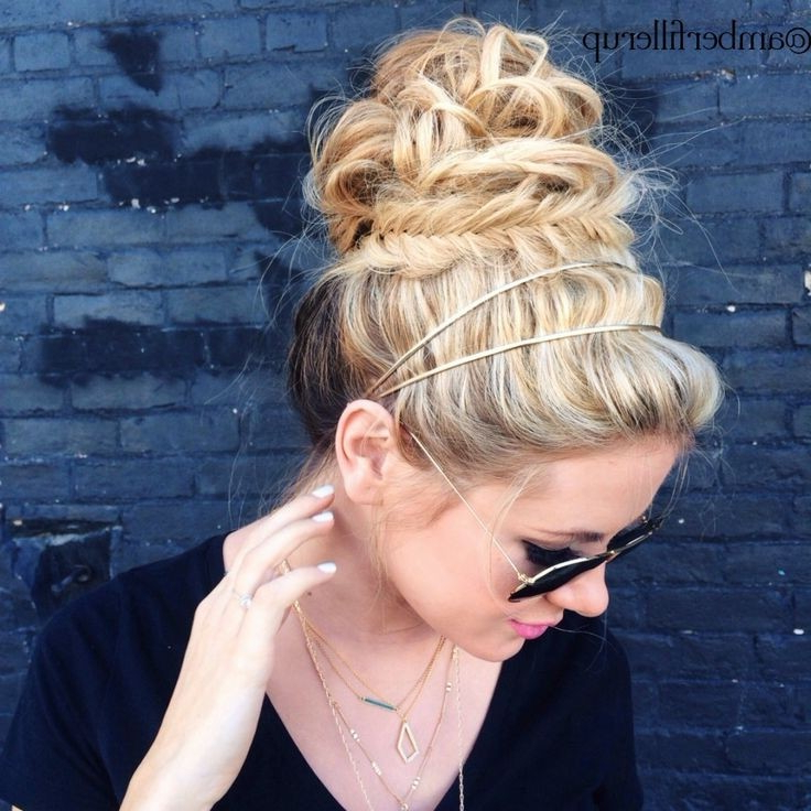 20 Pretty Braided Updo Hairstyles – Popular Haircuts With Regard To Messy Bun Hairstyles With Double Headband (View 23 of 25)