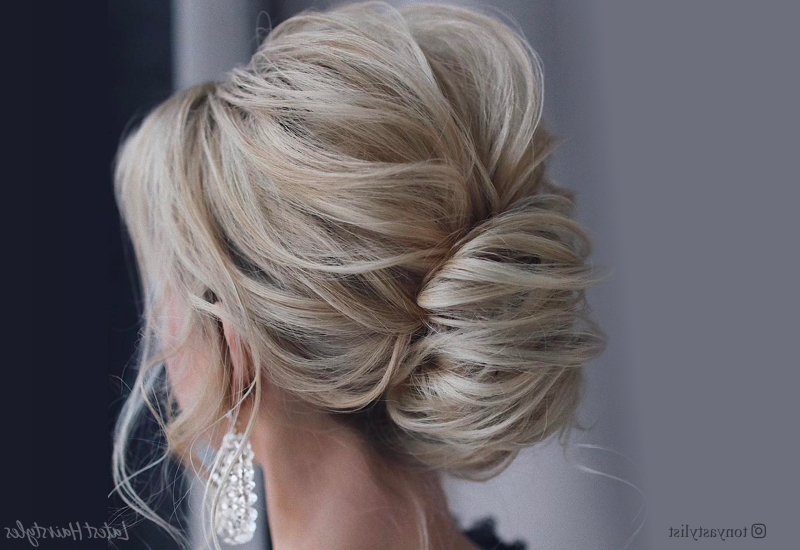 23 Cute Prom Hairstyles For 2019 – Updos, Braids, Half Ups With Regard To Teased Fishtail Bun Updo Hairstyles (View 14 of 25)