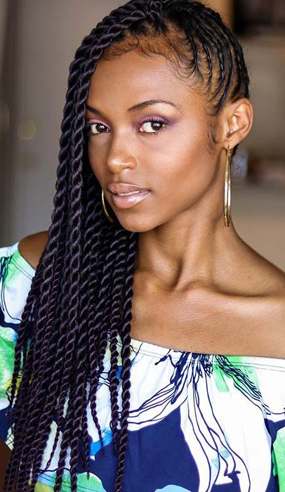23 Eye Catching Twist Braids Hairstyles For Black Hair Intended For Twists And Braid Hairstyles (View 15 of 25)