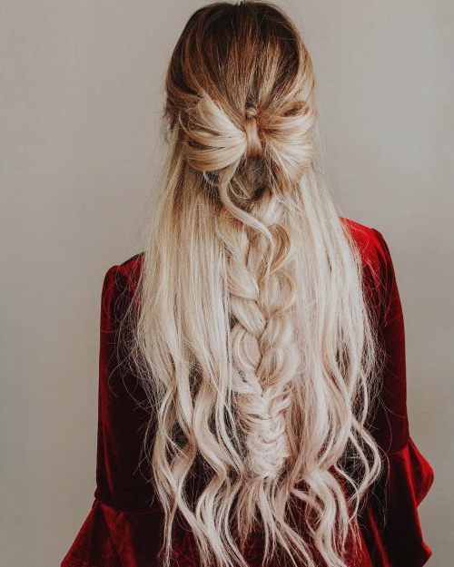 23 Gorgeous Formal Half Updos You'll Fall In Love With Inside Most Recent Loosely Tied Braided Hairstyles With A Ribbon (View 15 of 25)