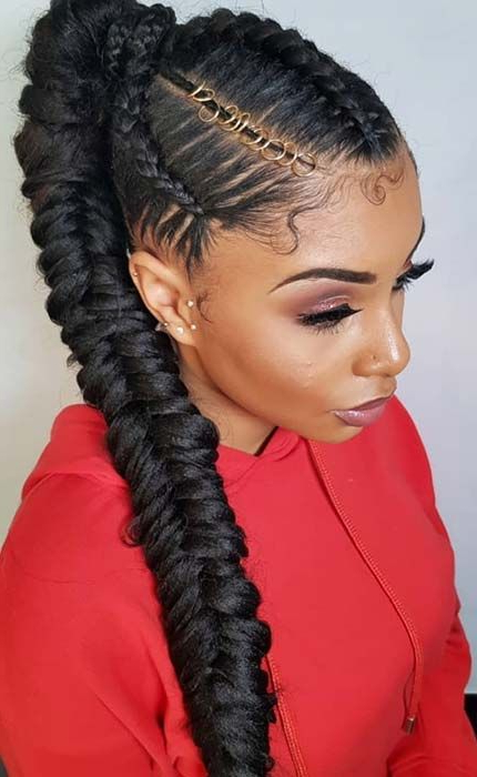 23 New Ways To Wear A Weave Ponytail | Braided Hairstyles Throughout Cornrow Braids Hairstyles With Ponytail (View 14 of 25)