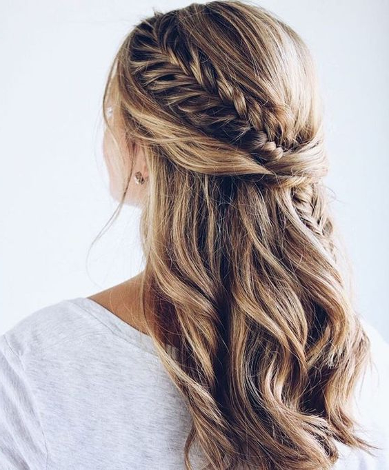 25 Bridesmaids' Half Up Hairstyles That Inspire – Weddingomania Throughout Braided Half Up Hairstyles (View 11 of 25)