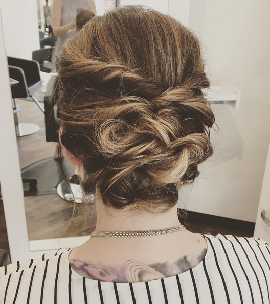 27 Trendy Updos For Medium Length Hair: Updo Hairstyle Ideas Intended For Mini Braided Buns Updo Hairstyles (View 20 of 25)