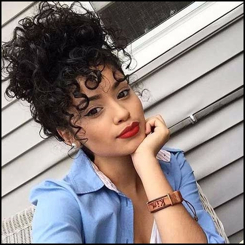 3 Easy Hairstyles For Curly Hair You'll Definitely Love Intended For Sky High Pony Updo Hairstyles (View 24 of 25)