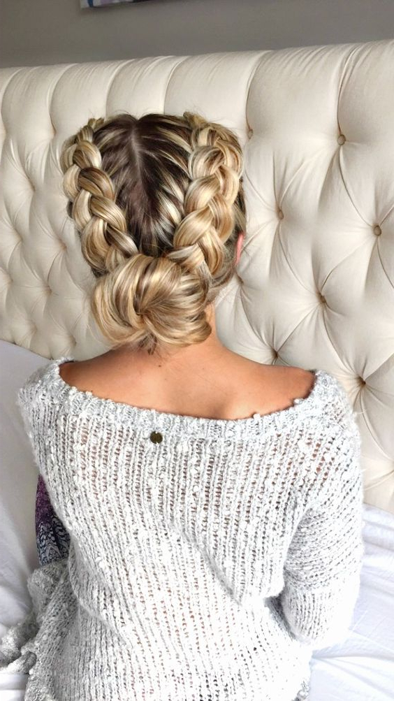 30 Amazing Braided Hairstyles For Medium & Long Hair With Regard To Most Popular Chunky French Braid Chignon Hairstyles (View 6 of 25)