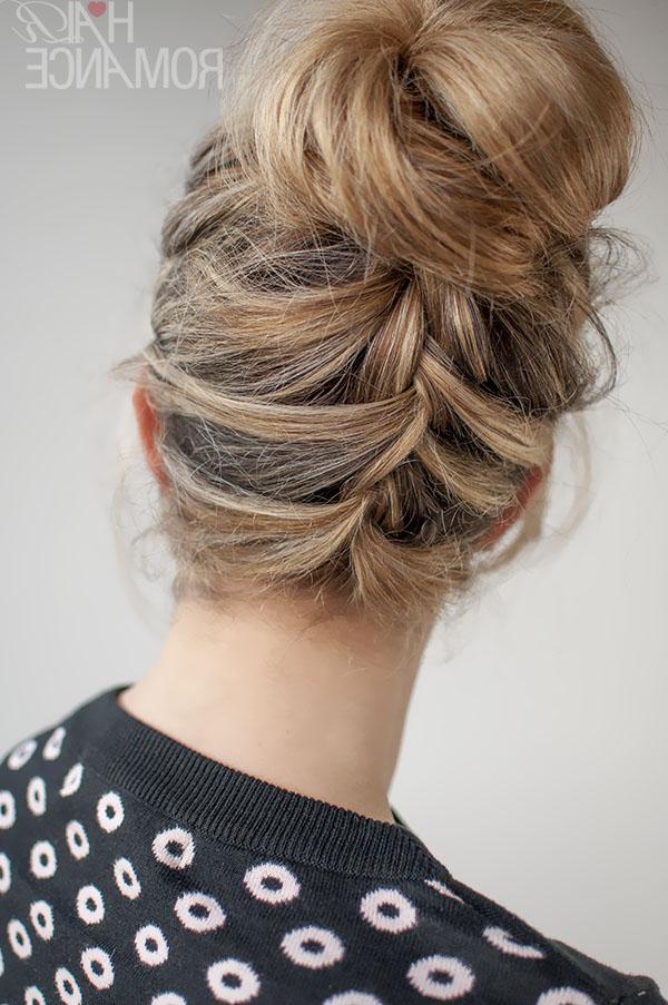 30 Buns In 30 Days – Day 16 – Upside Down French Braid Bun Regarding Reverse French Braid Bun Updo Hairstyles (View 7 of 25)
