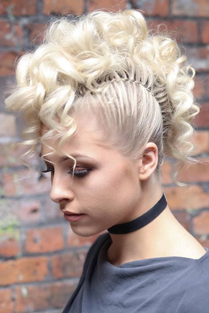 30 Girly Braided Mohawk Ideas To Keep Up With Trends With Curly Mohawk Updo Hairstyles (View 3 of 25)