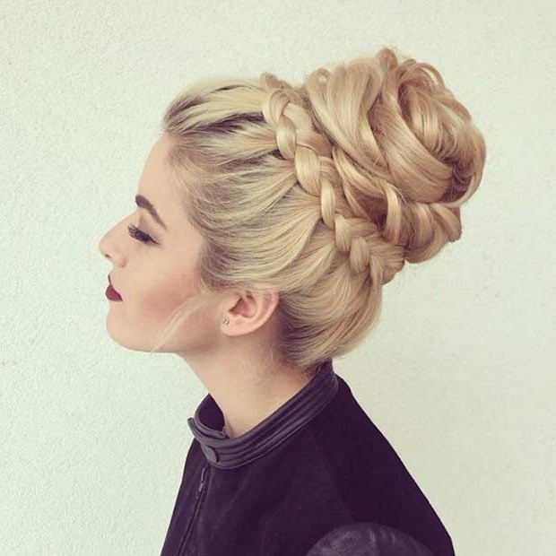 31 Most Beautiful Updos For Prom | Senior Ball Ideas | Long Within High Bun Hairstyles With Braid (View 3 of 25)