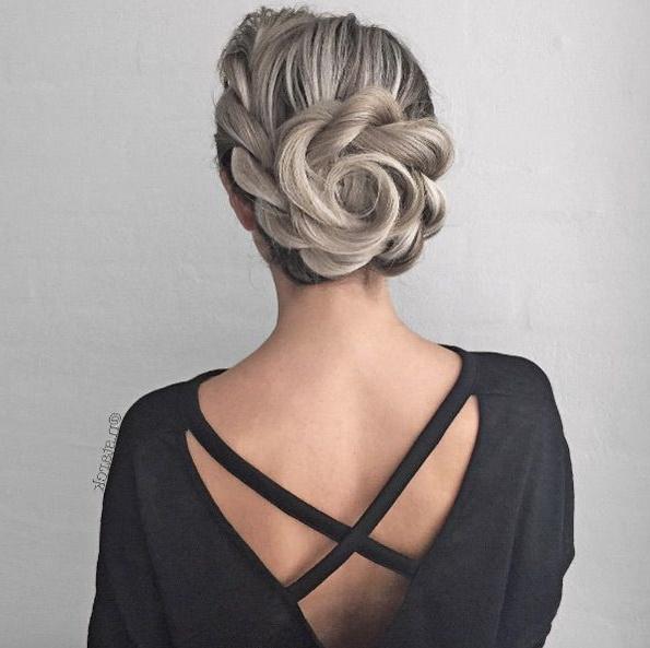 31 Stunning Flower Braid Bun Hairstyles | Braids | Braided With Regard To Floral Bun Updo Hairstyles (View 2 of 25)