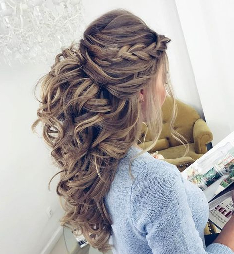 32 Pretty Half Up Half Down Hairstyles – Partial Updo Inside Curled Half Up Hairstyles (View 2 of 25)